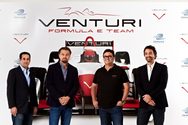 Leonardo DiCaprio during the launch of the new Venturi Grand Prix Formula E Team in New York